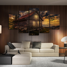 Canvas Pictures Modular Living Room Decor Framework 5 Pieces House Sunsets Great Clouds Landscape Poster Painting Wall Art Print