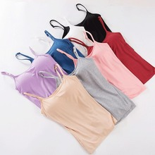 2020 Women Solid Tank Tops Adjustable Strap Built In Cup Pad