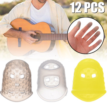 12Pcs/Set Guitar String Finger Guard Fingertip Protector Silicone Left Hand Finger Protection Press Guitar Accessories gorilla tips by im fingertip protector cover in clear blue pain relier for guitar bass ukulele players string finger guards