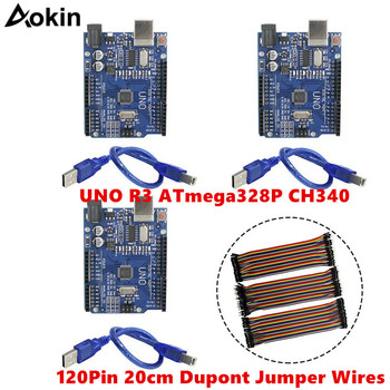 For Arduino UNO R3 ATmega328P CH340 Microcontroller Development Board IDE with USB Cable 20cm Dupont Female Jumper Wires uno r3 development board atmega328p ch340g for arduino uno r3 with usb cable pin header acrylic case