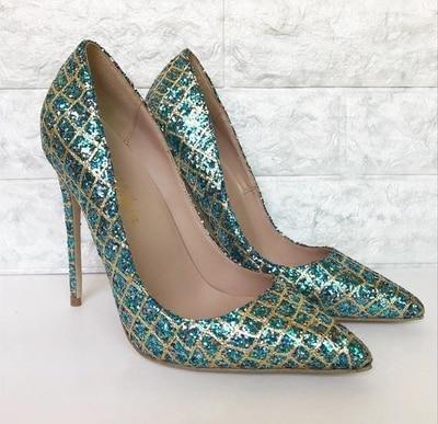 Mince 8 Cm gold Gladiateur Sexy Cm Chaussures Talons Hauts Pointu Dames 12 Bling green Femme Stilettos Paillettes Orteil 10 Soirée Pompes Pour Cm Green Célébrité Grille SwqgUxS