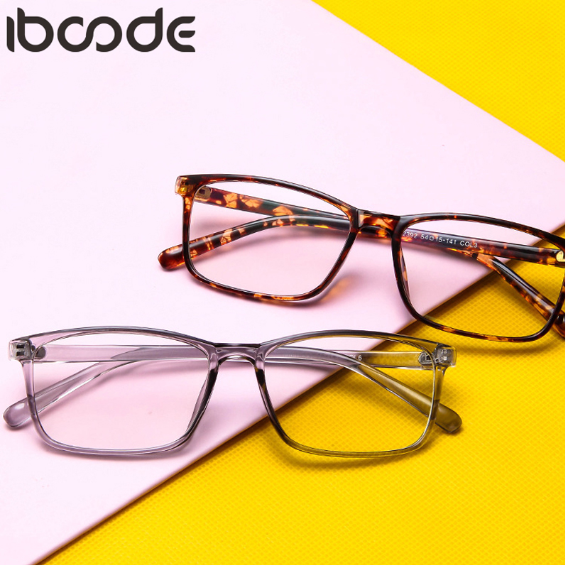Iboode Fashion Glasses Frame Women Men Retro Ultra-Light Mirror With Flat Lens Unisex Driving Vintage Transparent Color Eyewear