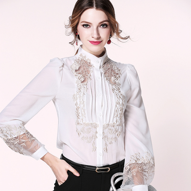 Dedicated Fashion Vintage Print Embroidery Chinese Style Top Lantern Sleeve High Collar Shirt Womens Loose Leisure Clothing A Great Variety Of Goods Blouses & Shirts