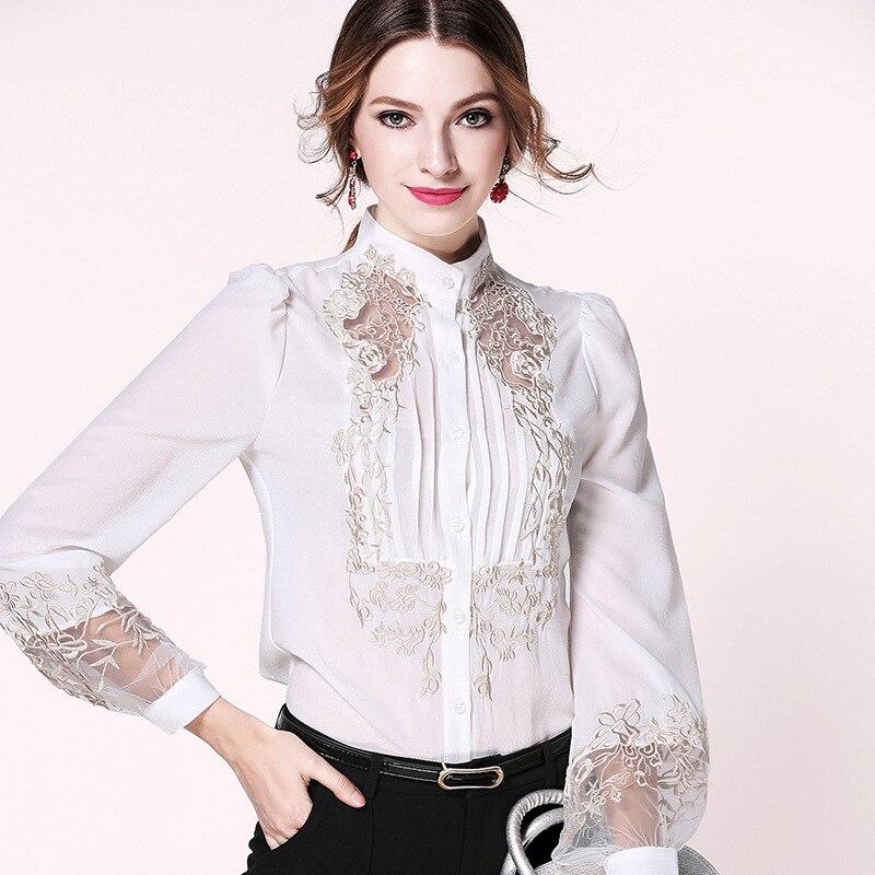 Chemisier de bureau en mousseline de soie blanc floral dentelle femmes hauts et chemisiers 2019 élégant vintage sexy bohème manches longues grande taille slim fit