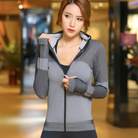 hoodies Women Running Jacket Long Sleeve Sweatshirt Gym Sport Jacket Fitness Lady Jogging Hoodie Tops Training Clothes plus size