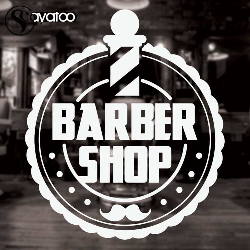 Barber Shop Mustache Beard Vinyl Wall Art Sticker Decal Hairdresser Beauty Salon 58x67cm