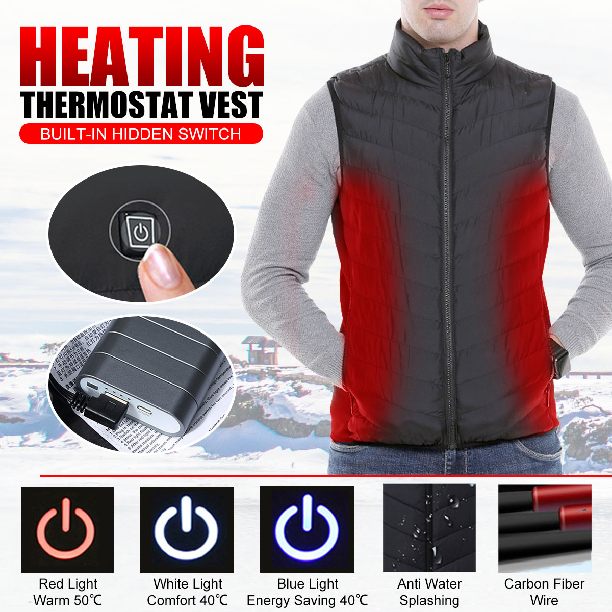 Mens Winter Heated USB Charge Hooded Work Jacket Coats Vest Adjustable Temperature Control Safety Clothing mens winter heated usb charge hooded work jacket coats vest adjustable temperature control safety clothing