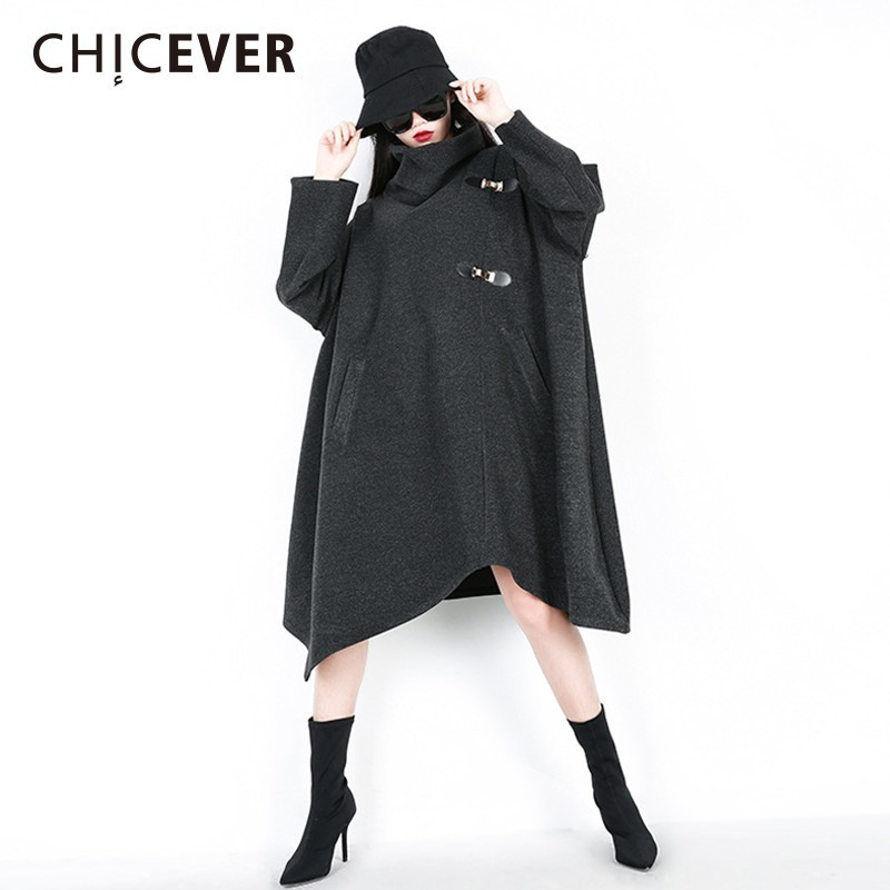 CHICEVER Winter Sweatshirts For Women Turtleneck Batwing Sleeve Oversize Asymmetric Hem Tops Female Casual Clothes New