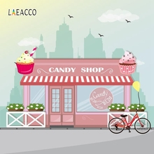 Laeacco Cartoon Shop Center Backdrop Bike Candy Photography Backgrounds Customized Photographic Backdrops For Photo Studio