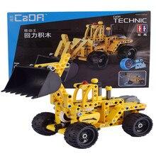 Cada Double E  Wheel loader Bulldozer Excavator Car Building Blocks Bricks Technic Series Pullback Toys For Children Kids 213pcs