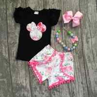 Cute Kid Baby Girl Summer Clothes Minnie Mouse Clothes T-shirt Tops +Pants Shorts Sunsuit Outfit Set