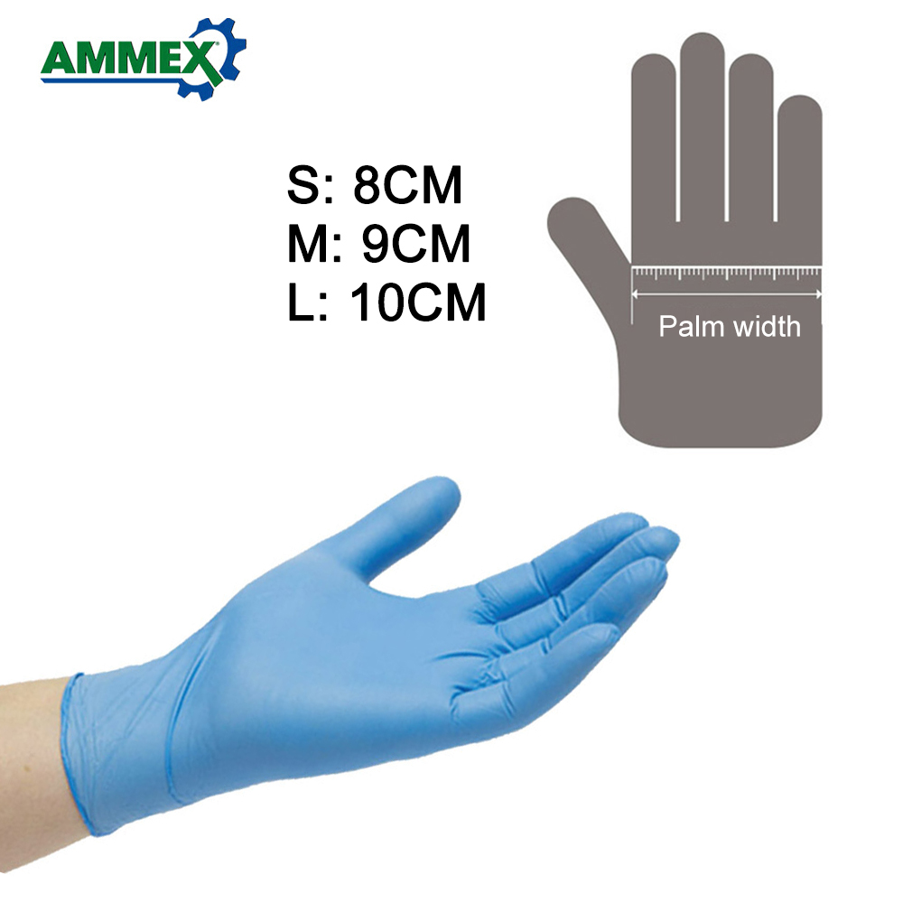 Image 2 - AMMEX 100Pcs Disposable Nitrile Rubber Glove Oil Resistant Puncture proof Gloves for Labor Home Food Medical Dental Use-in Safety Gloves from Security & Protection