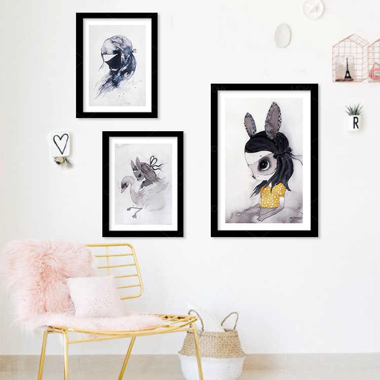Novo Estilo de Coelho Aquarela Estilo Nórdico, Família, Quarto das Crianças, unframed Pintura Da Lona Decoração Home Da Parede Arte Sala de estar
