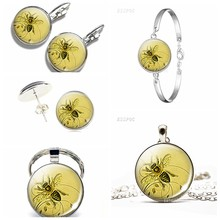 Retro Honeybee Pendant Necklace Earings Beekeeper Gift Apiarist Gift Honey Bee Glass Dome Jewelry Metal Car Keychain Silver Key(China)