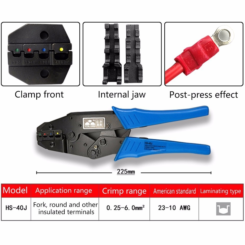 Crimp Pliers <font><b>Hs</b></font>-<font><b>40j</b></font> 0.25-0.5 0.5-1.5 1.5-2.5 4.0-6.0mm 23-10awg Multi Hand Tools Insulation Ring&spade Terminals Crimping 9 Inch image