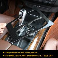 Carbon Fiber Style Center Console Gear Box Panel Cover Trim for BMW X5 X6 E70 E71 2010 2011 2012 2013 2014