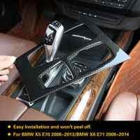 Estilo de fibra carbono console central caixa engrenagem painel capa guarnição para bmw x5 x6 e70 e71 2010 2011 2012 2013 2014 abs estilo do carro