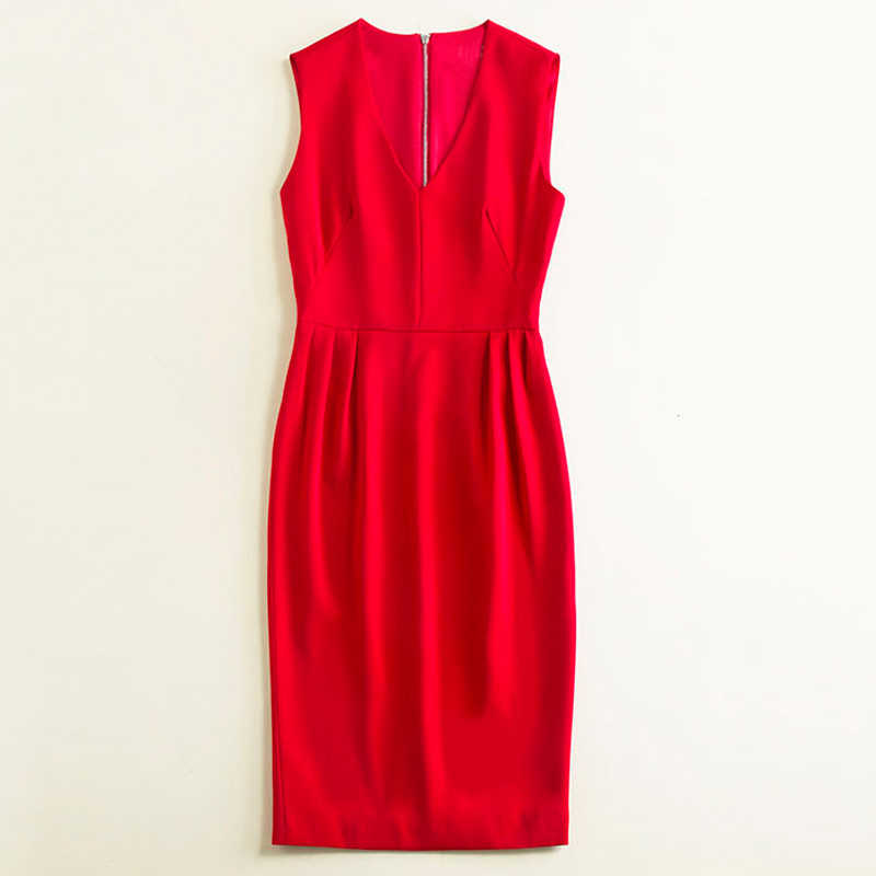 2019 летняя одежда для женщин сплошной цвет красный/черный/бежевый для работы платье v образным вырезом без рукавов ruch по колено элегантны