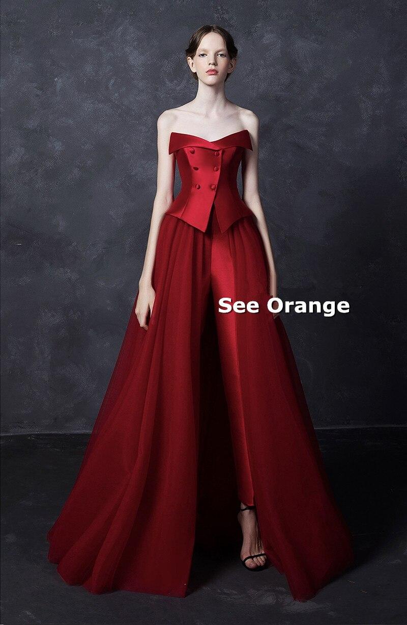 Voir Orange fait sur commande reine rouge Satin Robe de soirée sans bretelles maille longue Robe femmes Sexy Robe Robe Femme Ete 2018 SO2219