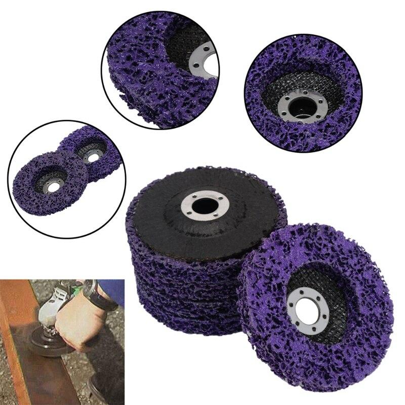 Nouveau 5 pièces violet Durable Poly bande disque roue 100x16Mm bois métal peinture antirouille propre outils abrasifs pour meuleuse d'angle
