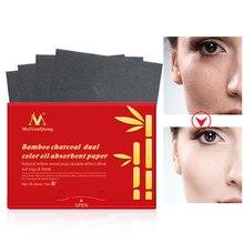 90 unids/pack de carbón de bambú aceite secante hojas Facial papel absorbente de aceite de Control estera tejido portátil cara almohadillas parches