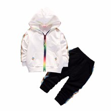 2019 New Spring Baby Casual Boys Girls Cotton Hooded Jacket Pants 2Pcs/Set Kids Fashion Suit Infant Clothing Toddler Tracksuits children s baby boy outdoor coat cotton sweater boys girls set infant warm jacket pants 2pcs suit newborns toddler clothing sets