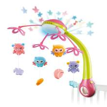 Rotary Mobile Music Crib Bell Animal Projection Caroon Bed Bell For Toddler Colorful Baby Rattles Toy For Newborn Baby(China)