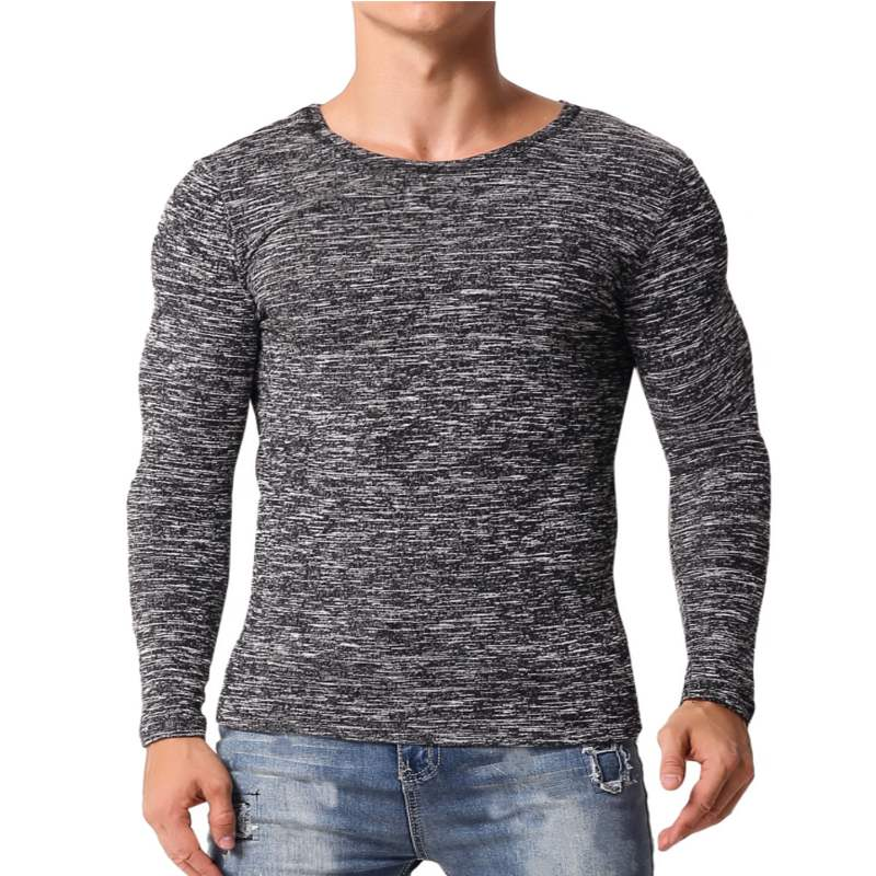 Muscle Tee Mens T-Shirts Long Sleeve Slim Fitness Man Bodybuilding Workouts Gyms Tops Joggers Plain Basic Mens Clothing Hombre