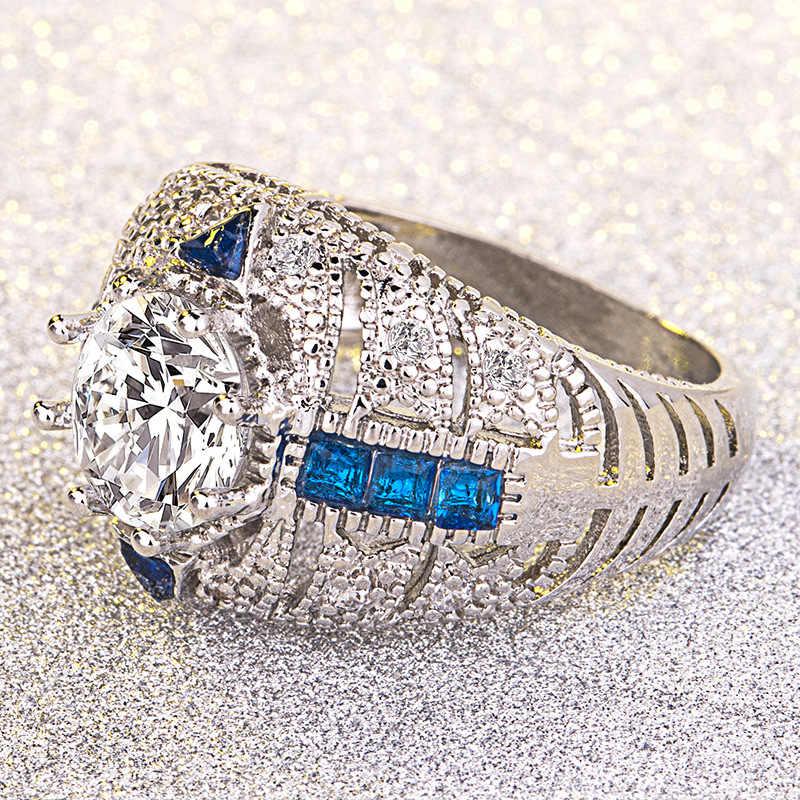 14 К золото и бриллианты Свадебный кулон кольца аметист Diamante сапфир Anillos De Bague Etoile кольца Bizuteria для женщин мужчин унисекс