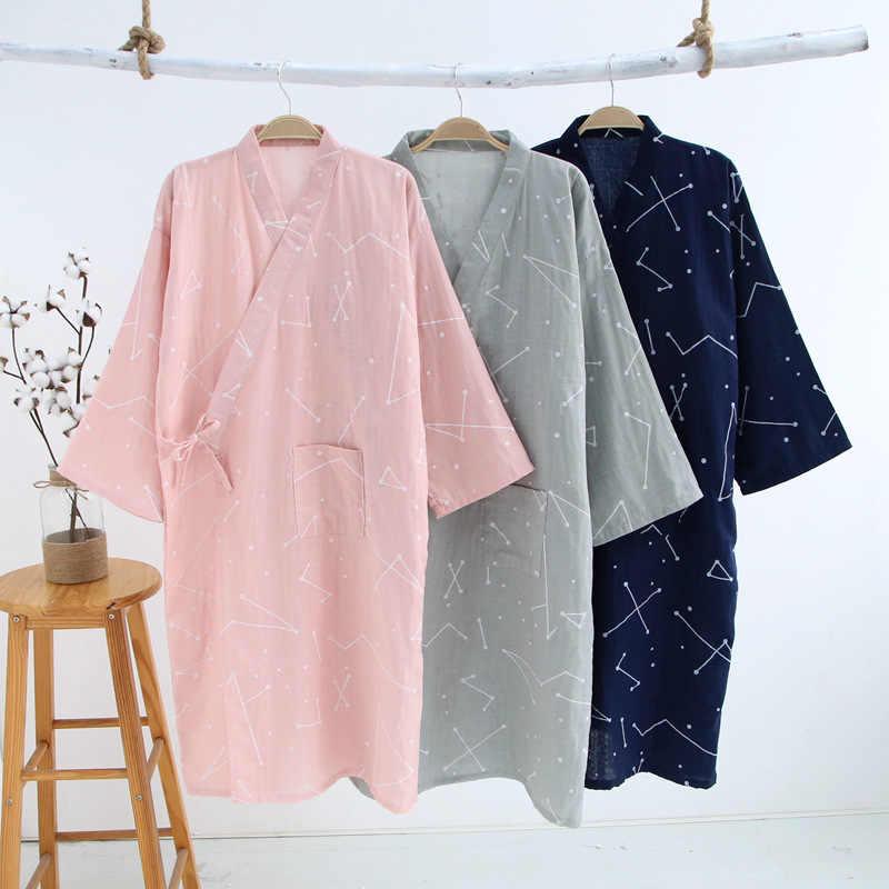 Women Sleepwear Nightwear Kimono Robe Casual Cotton Bathrobe Belt Elegant  Bathroom Spa Robe Cotton Gauze Soild 3309431f3