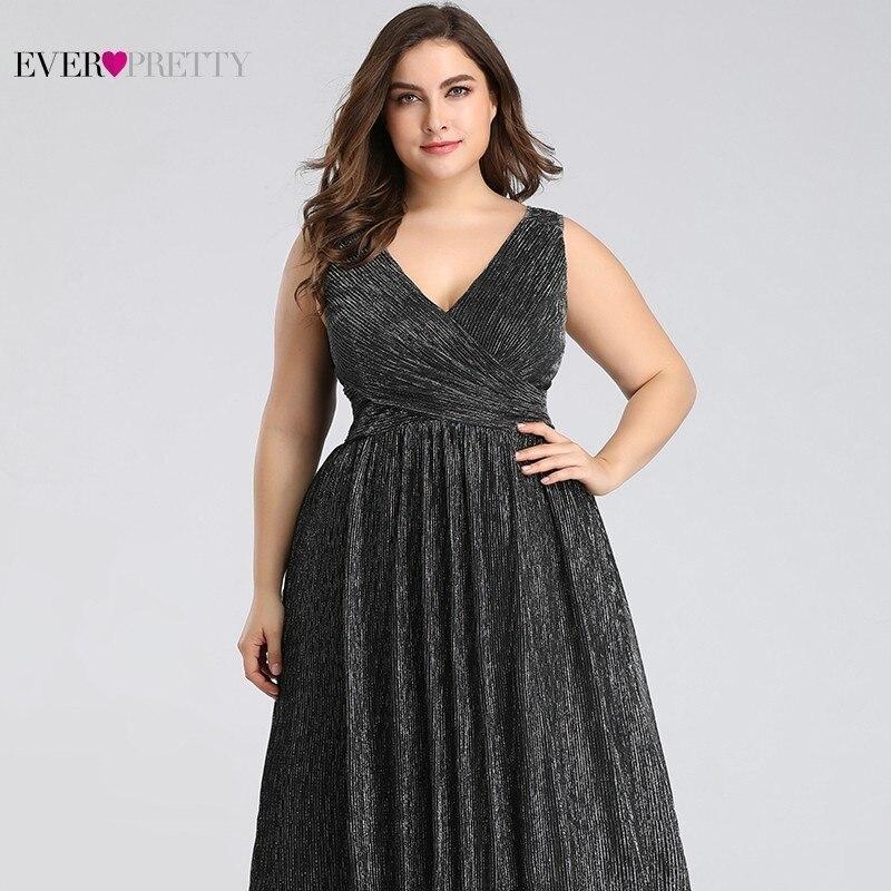Grande taille robes De soirée élégantes longue jamais jolie EP07791BK a-ligne v-cou sans manches noir robes De soirée formelles Robe De soirée - 5
