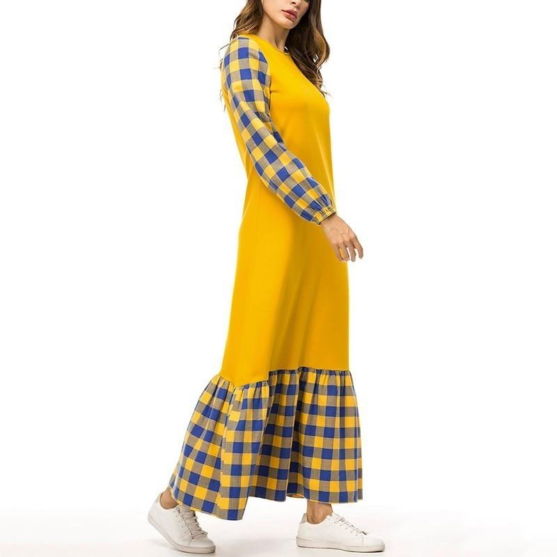 Plaid Lunga Marea O A Chicever Vita Colori Dimensioni Maglia Hit Collo Alta Manica Rappezzatura Dress Più Abiti Modo Di Vestito Yellow Del Lavoro wwWnvEx