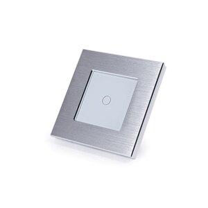 Image 4 - Bingoelec padrão da ue/reino unido 1 gang interruptor de toque de 1 vias, interruptor de luz de metal prata, AC110 250V,86*86mm