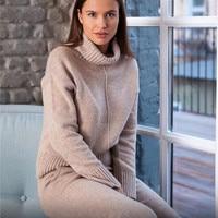 Set women's sweater two piece fashion long sleeved turtleneck sweater + pants sports suit wool knit elegant professional suit