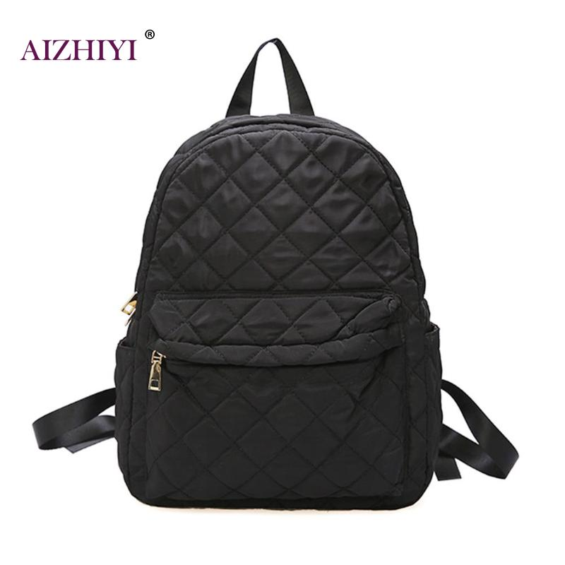 Casual Women Large Capacity Lattice Backpack Preppy Style Nylon Solid Shoulder Travel School Bags Sac A Dos Mochila FemininaCasual Women Large Capacity Lattice Backpack Preppy Style Nylon Solid Shoulder Travel School Bags Sac A Dos Mochila Feminina