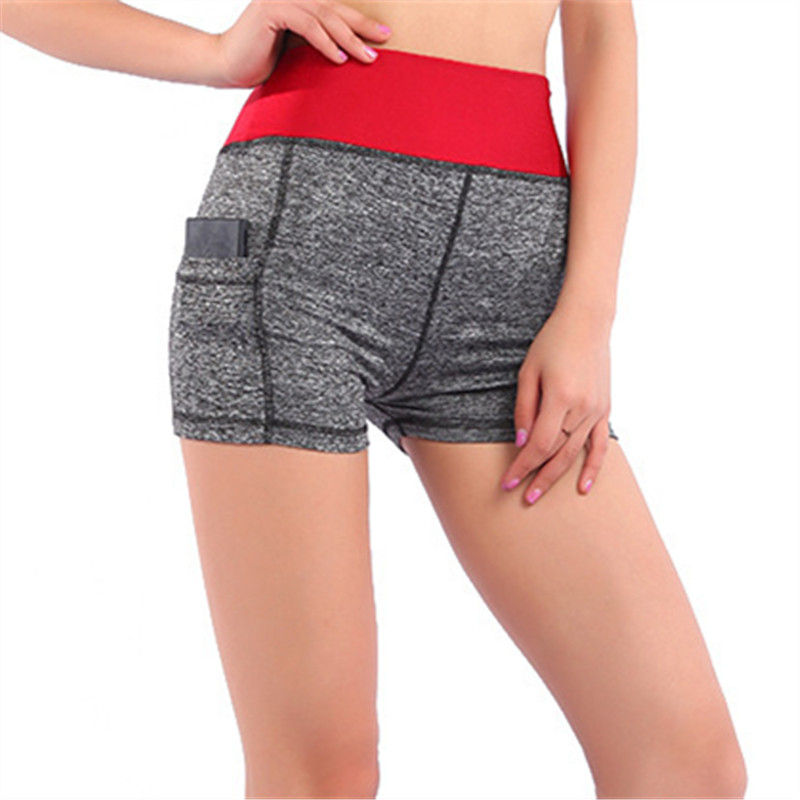 Jeseca Fashion Fitness Cotton Shorts Stretch Casual Female Skinny Pocket Hip Lift Breathable Easy Dry Mid Elastic Waist Shorts