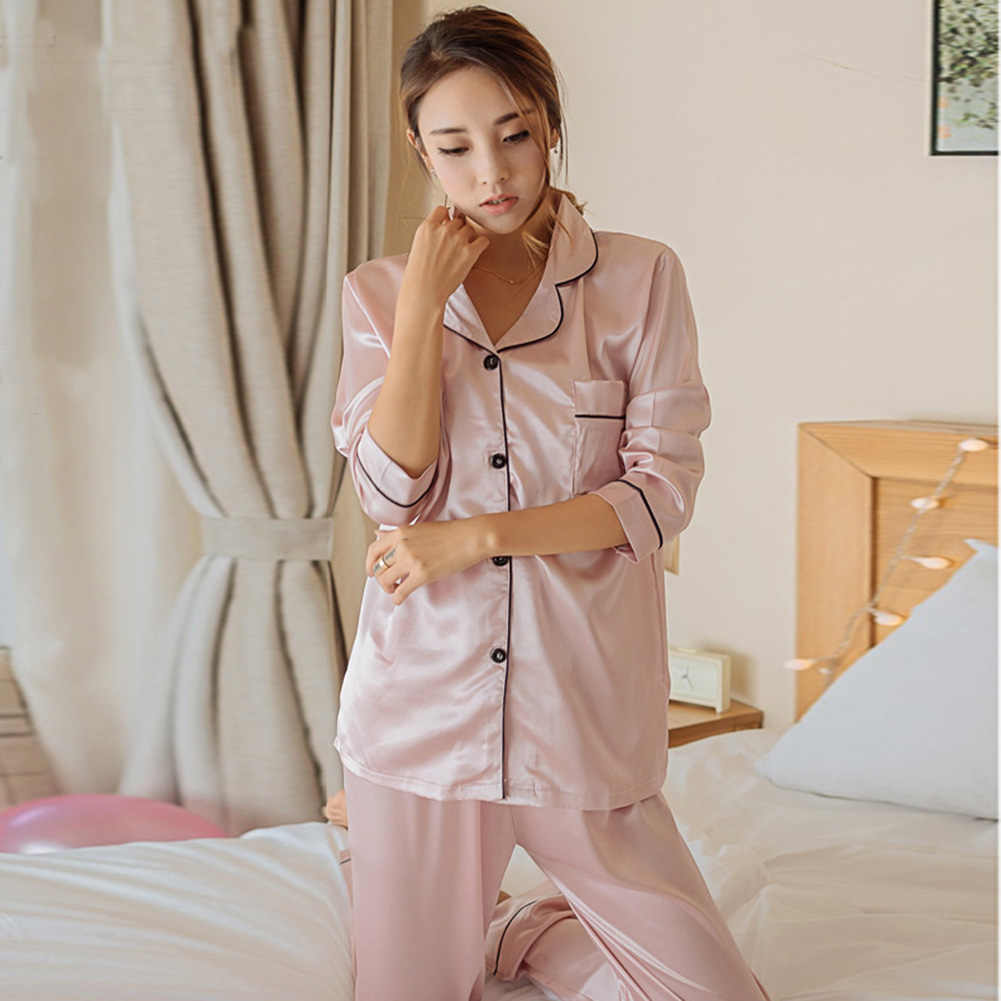 36c22b918 ... YJSFG HOUSE Women's Pajama Sets Silk Satin Thin Tops Pants Pajamas Set  Long Sleeve Button- ...