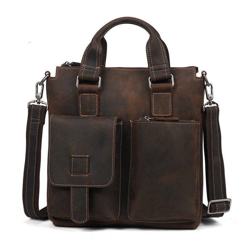 Mens Shoulder Bag Leather Handle Messenger Bag s711-40 Vintage Handmade Crazy Horse Leather Bag Cross Body Vintage Satchel BagsMens Shoulder Bag Leather Handle Messenger Bag s711-40 Vintage Handmade Crazy Horse Leather Bag Cross Body Vintage Satchel Bags