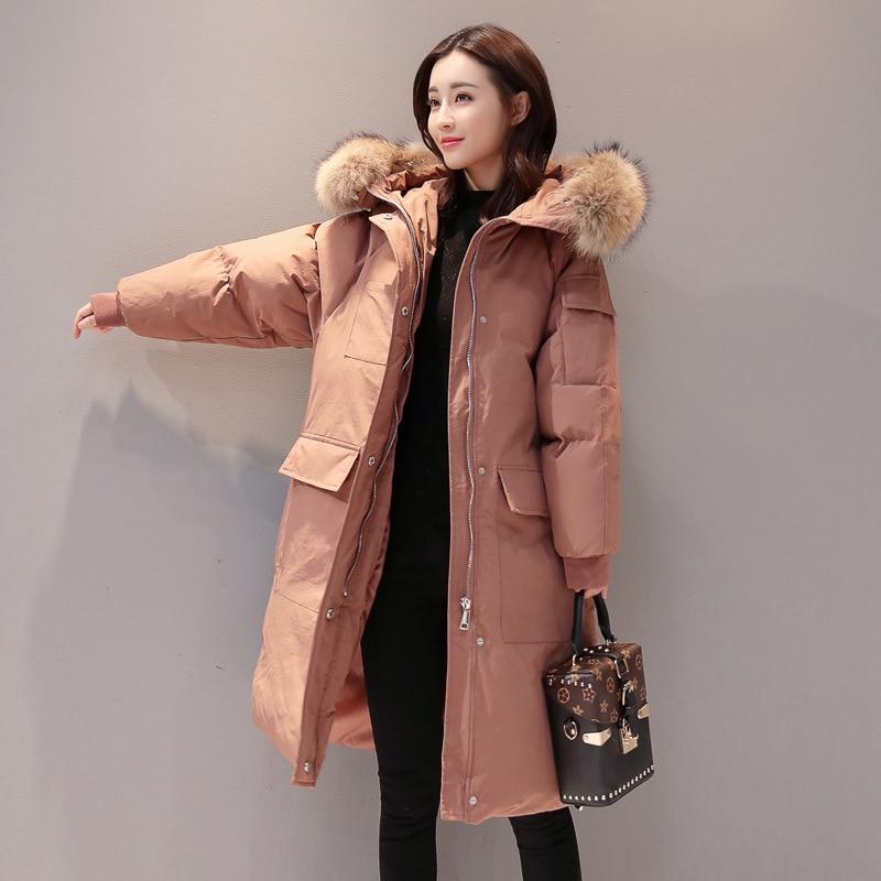 2019 г. Новая зимняя Корейская легкая кодовая длинная одежда Seta Lead с хлопковой подкладкой даже хлопковая куртка с капюшоном Свободное пальто