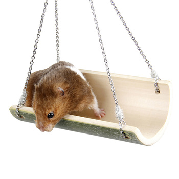 Cute Parrot Hamster Swing Hanging Gadget Wooden Cage Hamster Toy Chinchilla Amuse Mouse Pet Accessories Supplies 1