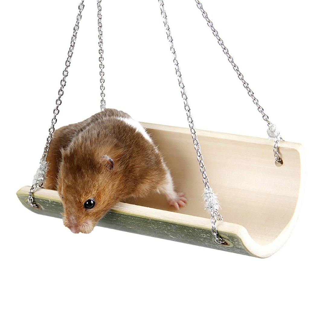 Cute Parrot Hamster Swing Hanging Gadget Wooden Cage Hamster Toy Chinchilla Amuse Mouse font b Pet
