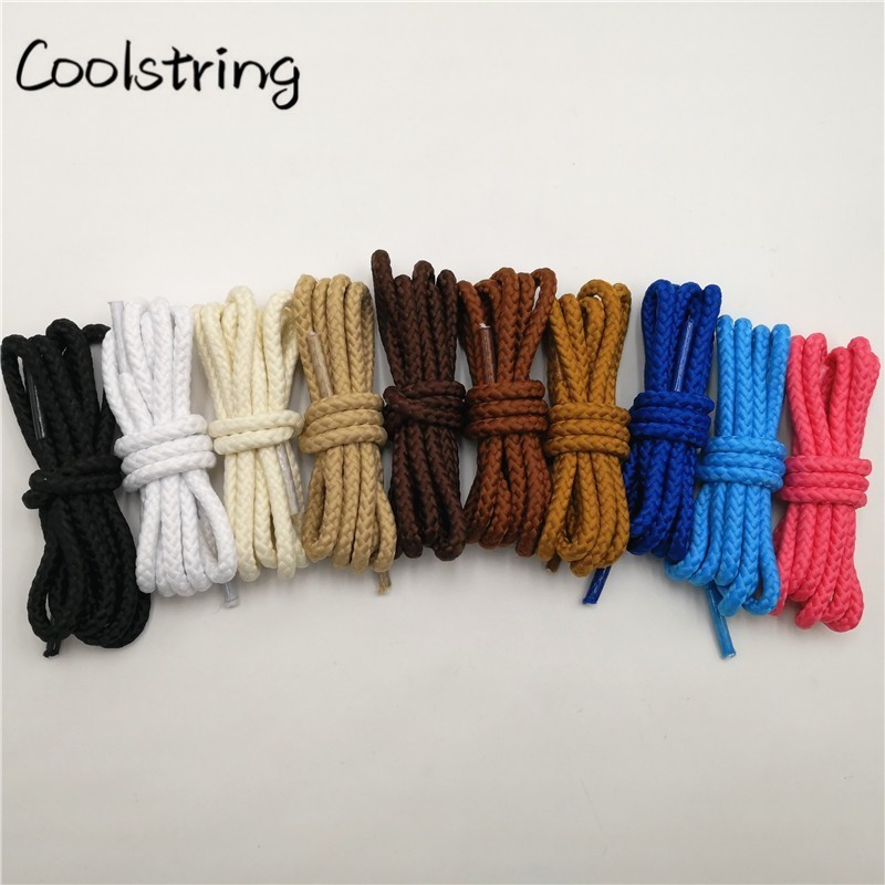 Coolstring 1 Pair Solid Color Round Shoe Laces Unisex Casual Shoelaces Sneakers Shoestring For Canvas Shoes Martin Boots Laces