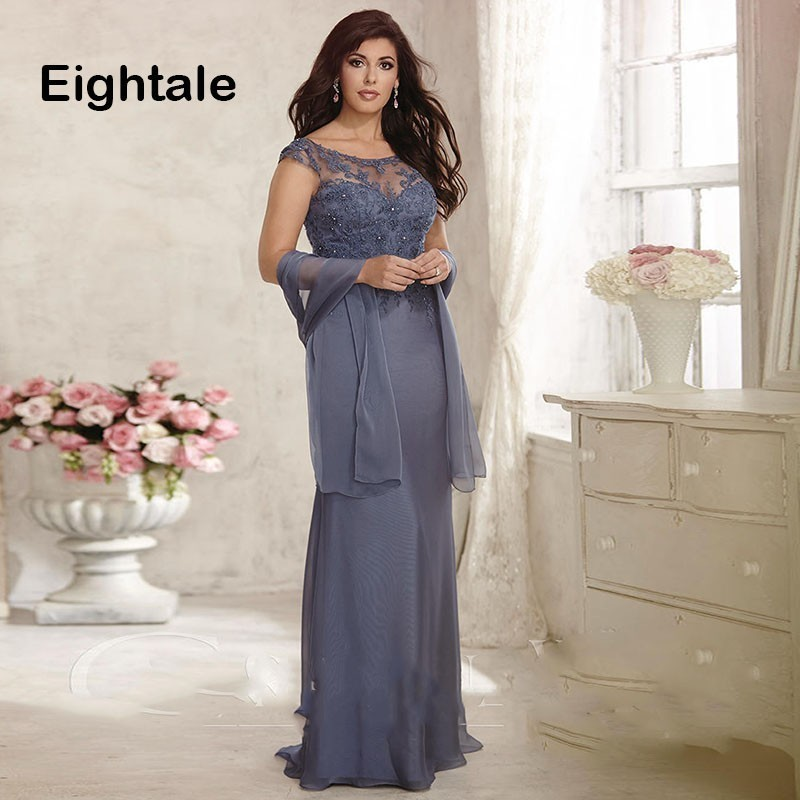 Eightale Long Mother Of The Bride Dresses Scoop Cap Sleeve Appliques Groom Godmother Vestido De Madrinha Chiffon Evening Gown