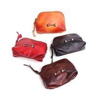 Genuine Leather Coin Purse Women Vintage Handmade Small Mini Wallet Card Holder Bag Case Zipper Vintage Change Female Purses