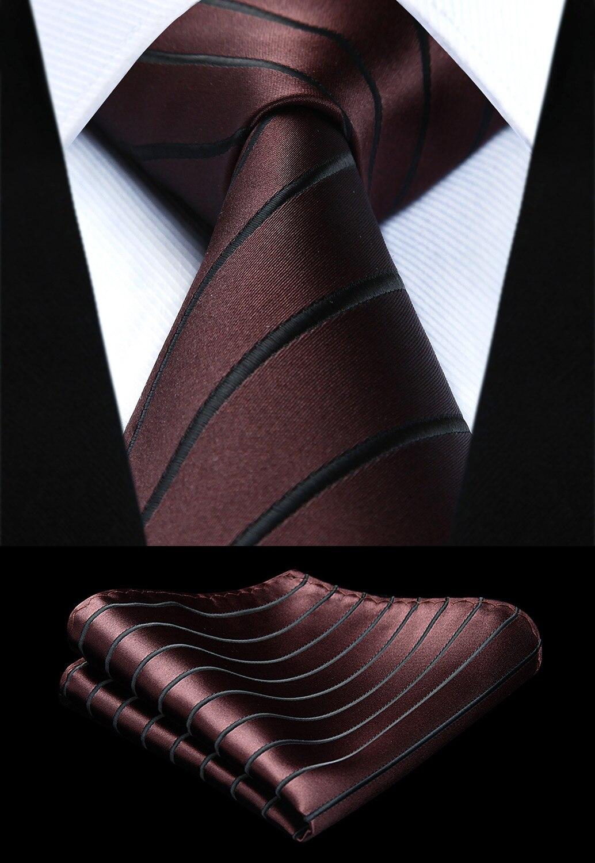 e5ce20933759 Party Wedding Classic Fashion Pocket Square Tie New Striped Mens Tie Brown  Woven 3.4