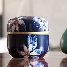 Japanese Style Flower Rose Tea Gift Box Round Shape Tinplate