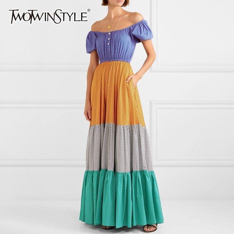 TWOTWINSTYLE Casual Polka Dot Dress Women Slash Neck Short Sleeve High Waist Hit Color Floor Length