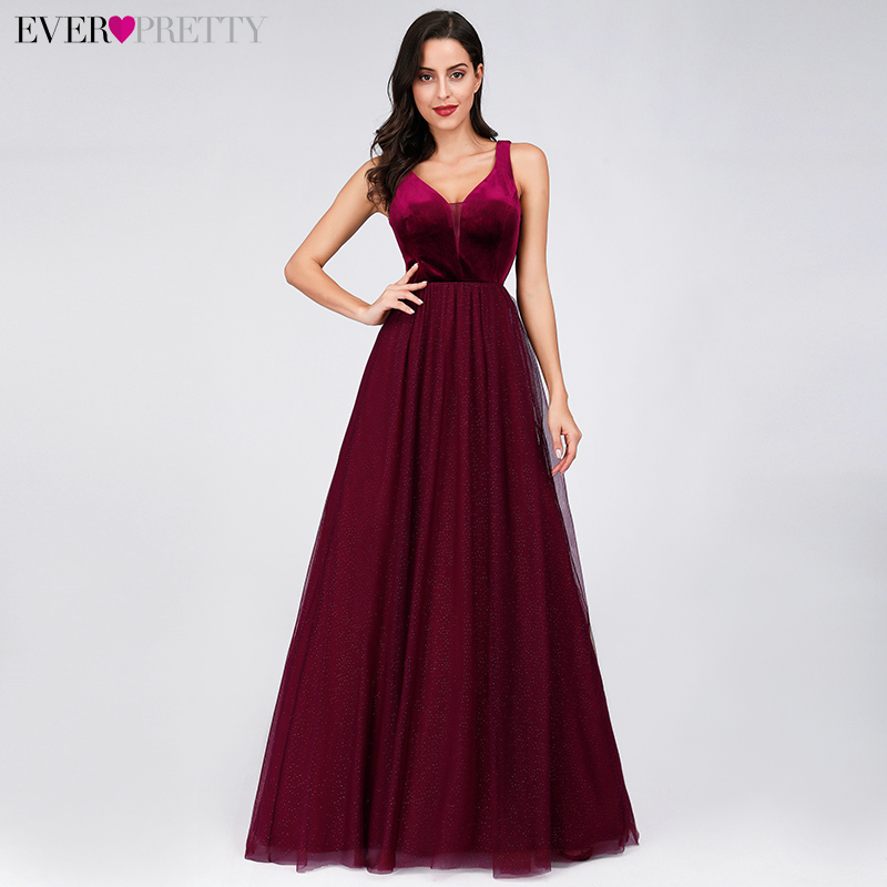 Elegant Evening Dresses Ever Pretty EP07849 Burgundy Sexy Formal Party Gowns 2020 Sparkle Tulle Women's Wedding Party Gown