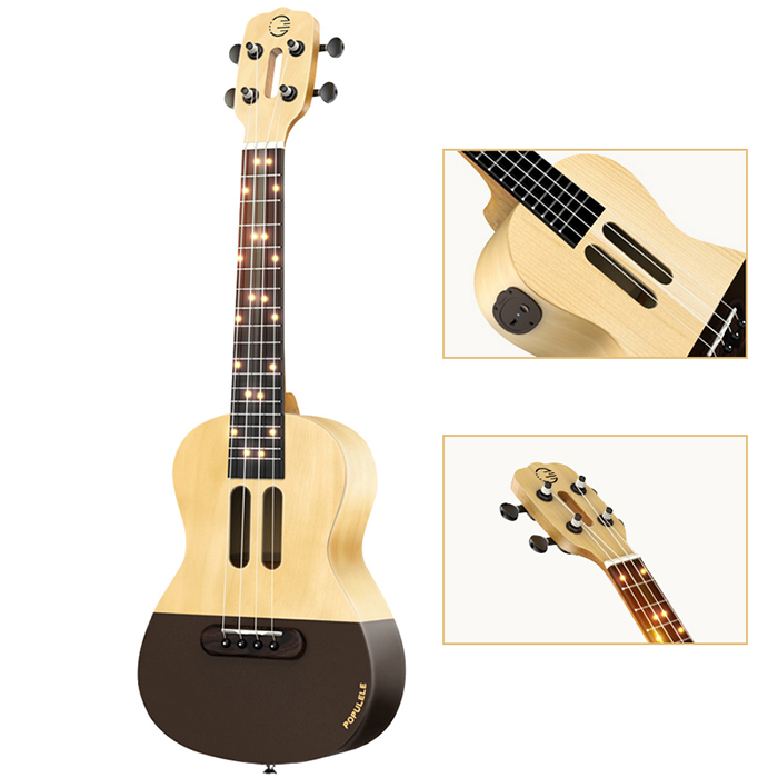 Populele 23 Inch APP LED Bluetooth USB Smart Ukulele Gift For Beginners User Friendfly Pinao Toy Musical Instrument - 5