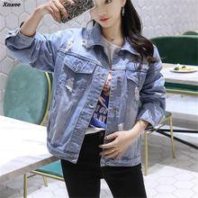 Women Basic Coats Spring Autumn Boyfriend Holes Denim Jacket 2018 Vintage Long Sleeve Loose Female Jeans Coat Casual Outwear цена